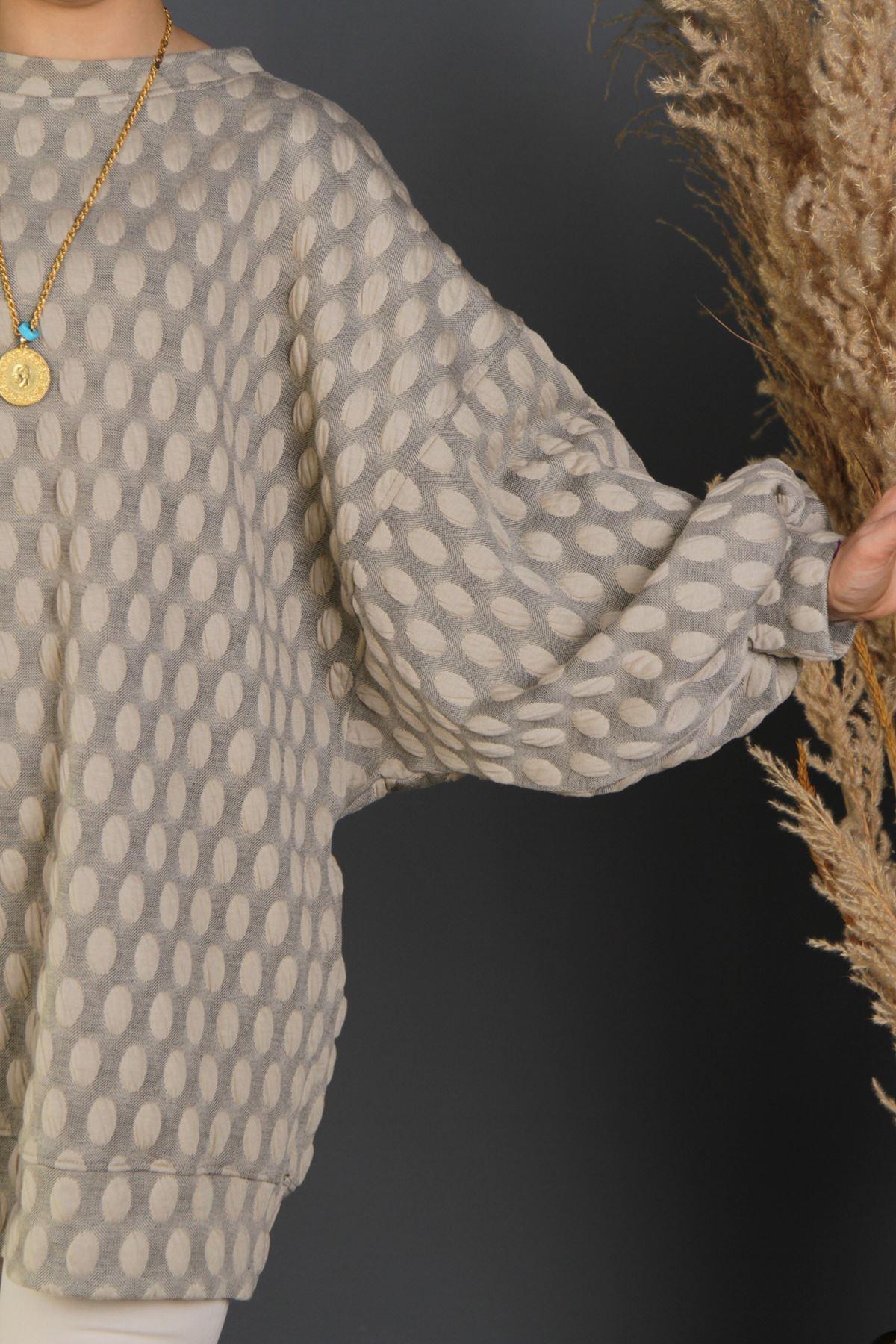 Kadın Salaş Kaplama Sweat - Bej