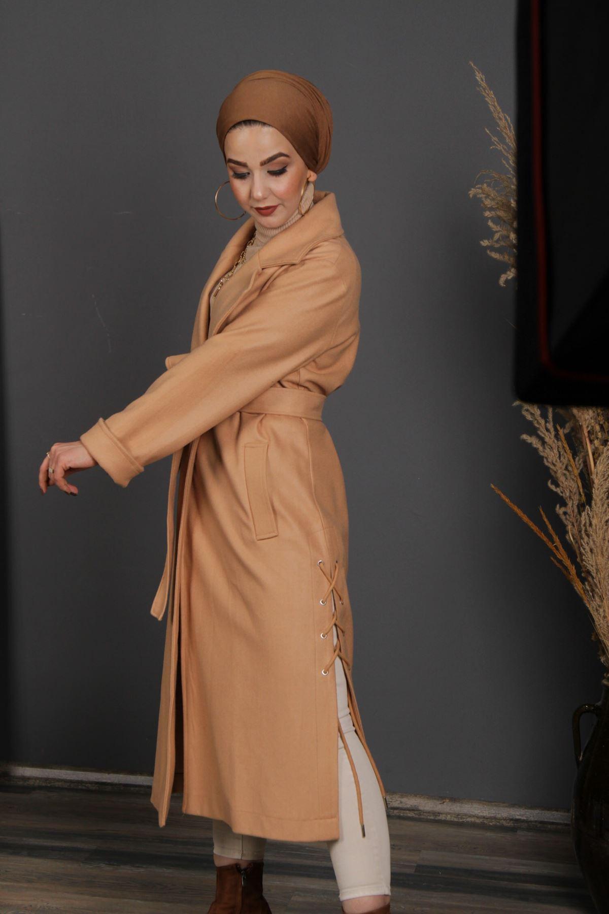 Kadın Yandan Bağcıklı Kaban - Camel