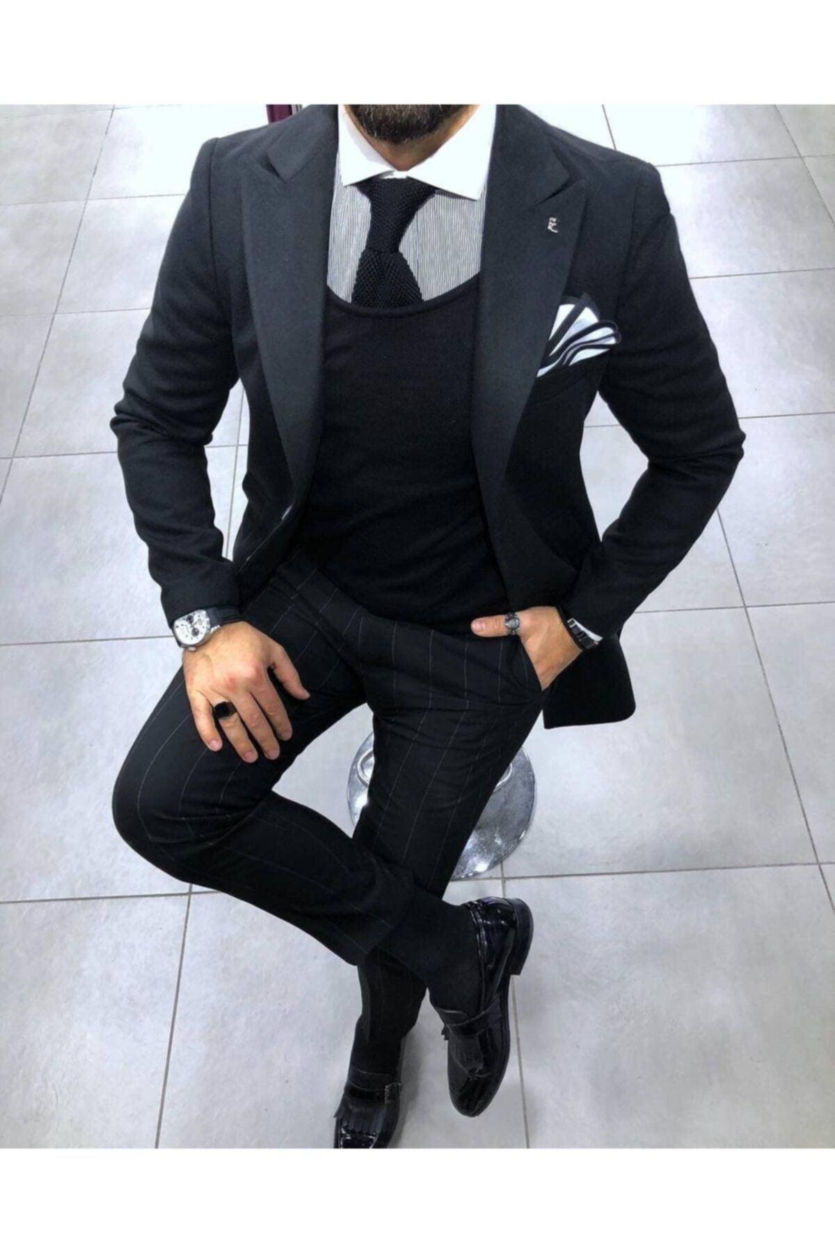 Erkek Klasik Slim Fit Kaban - Siyah