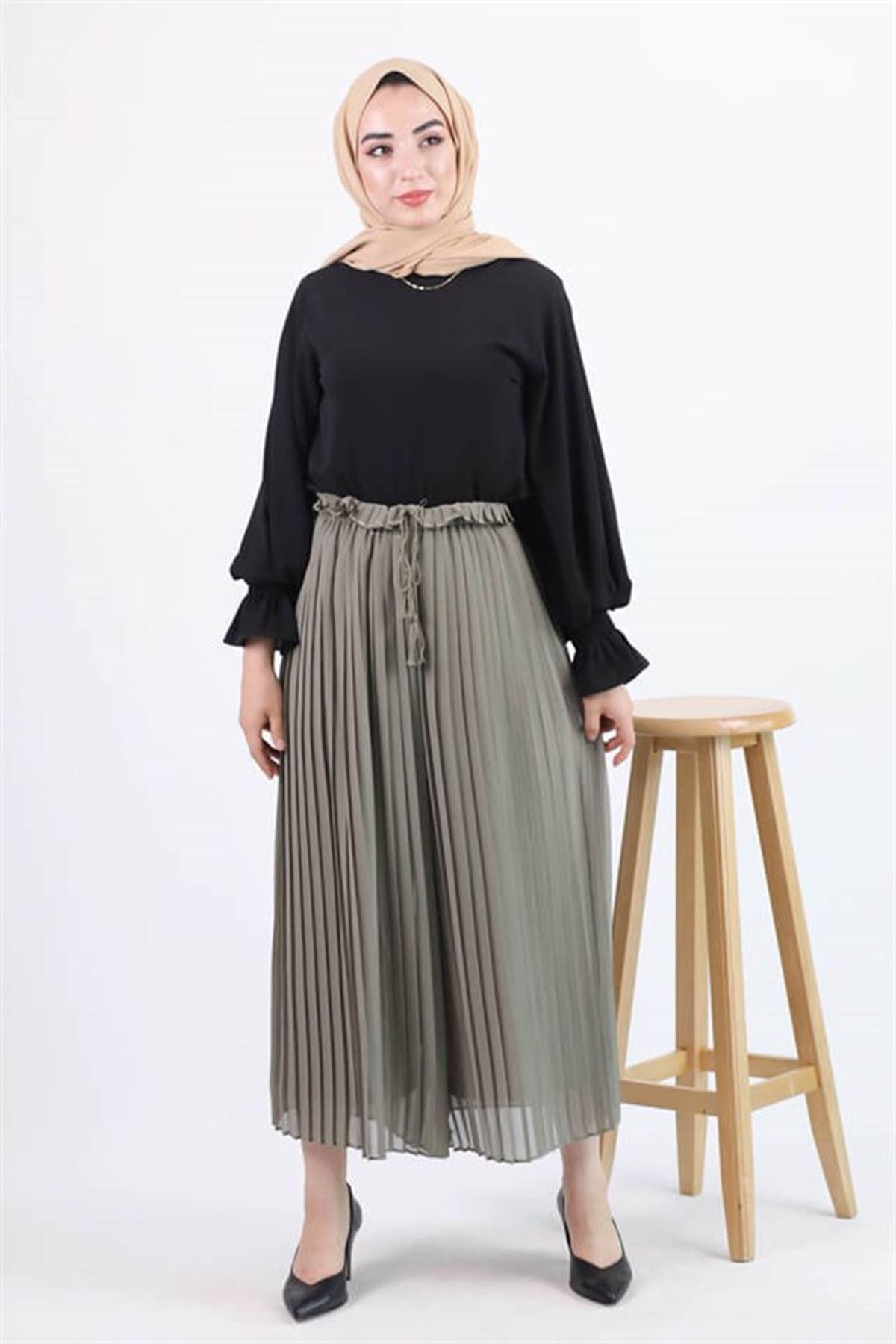 Kadın Şifon Piliseli Astarlı Beli Lastikli Pantolon - Haki