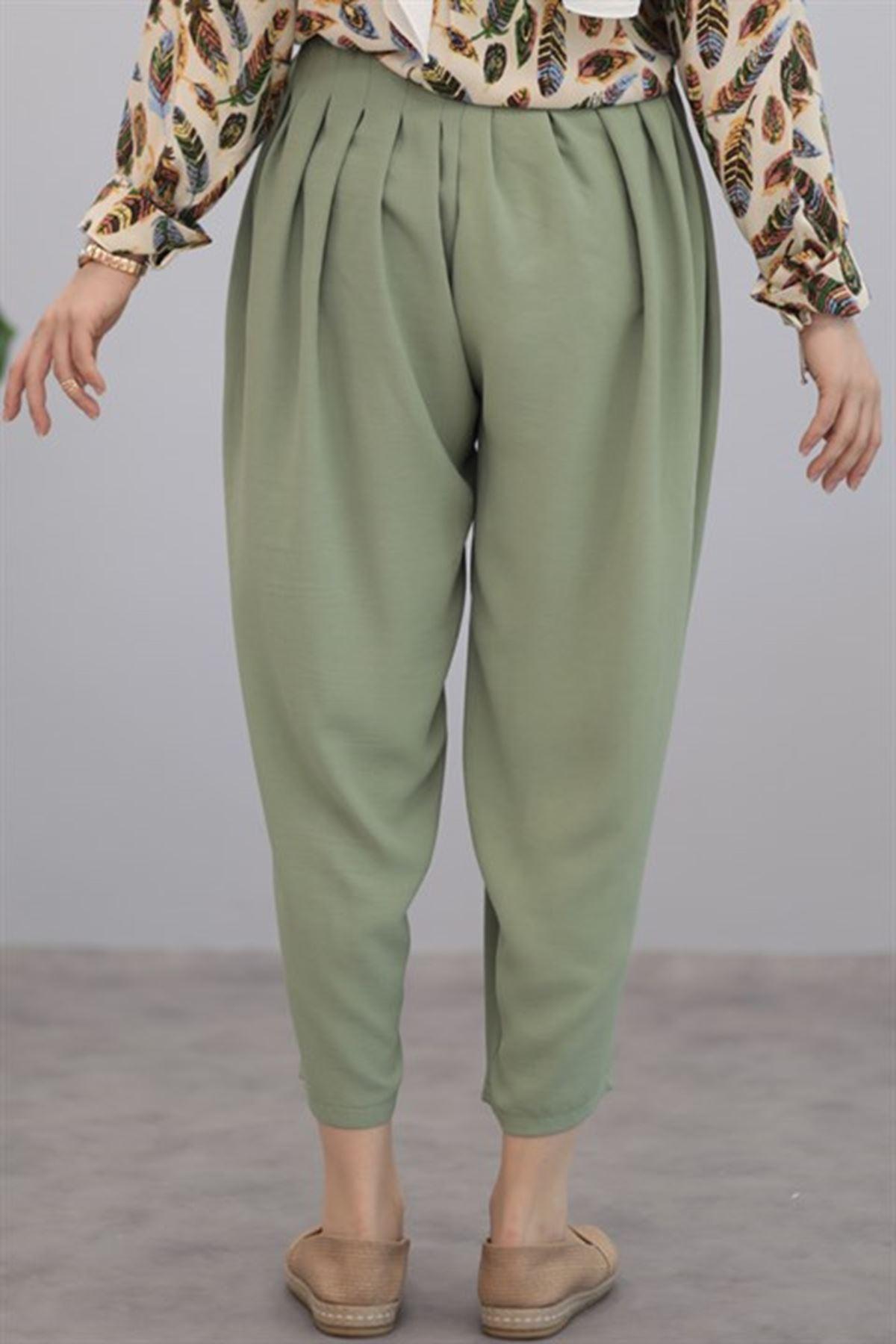 Kadın Pileli Salaş pantolon - Fıstık Yeşili