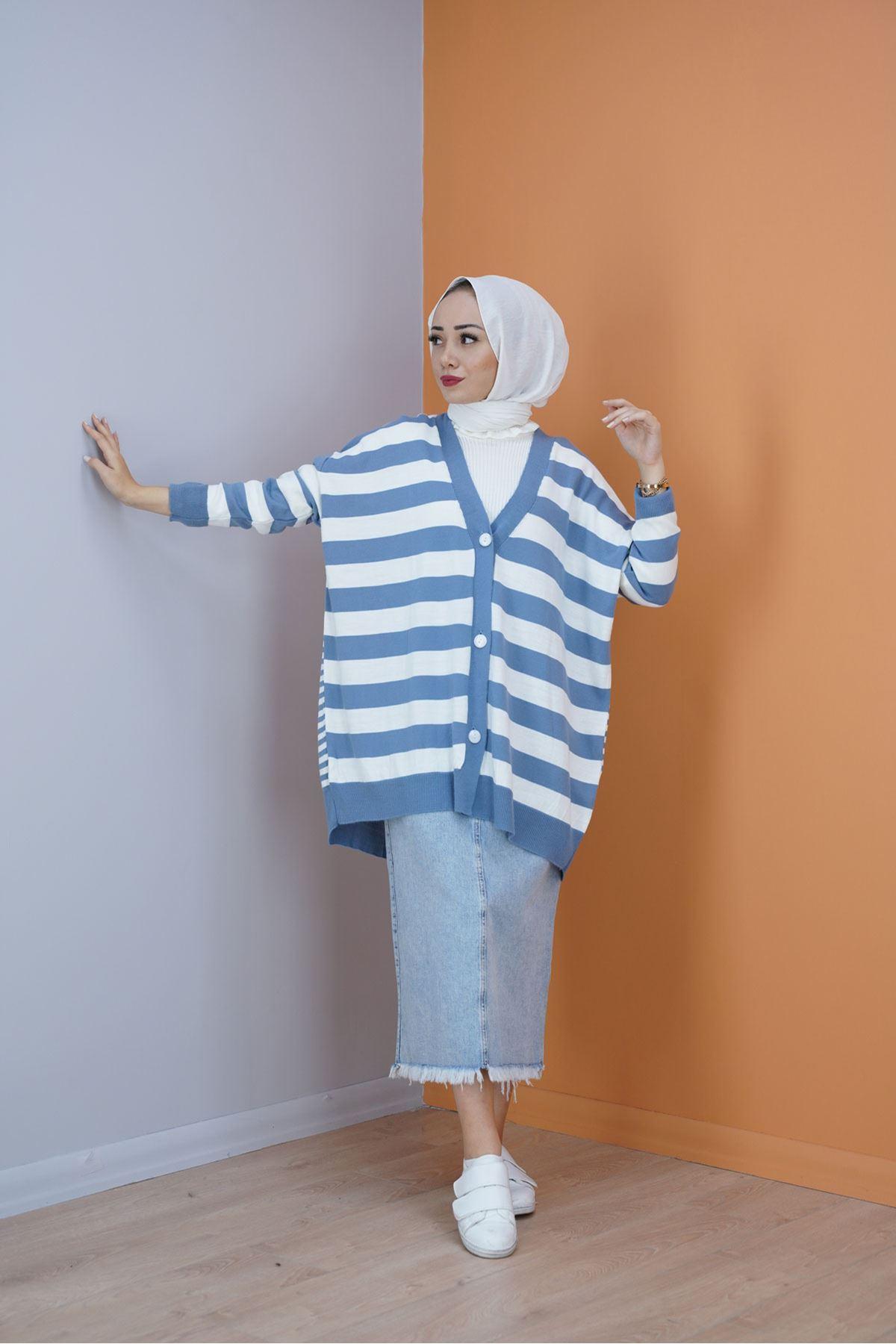 Kadın Çizgili Salaş Hırka - Açık Mavi