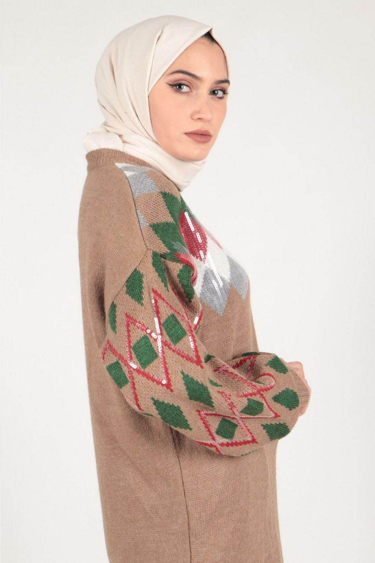 Kadın Pullu Triko Tunik - Bej