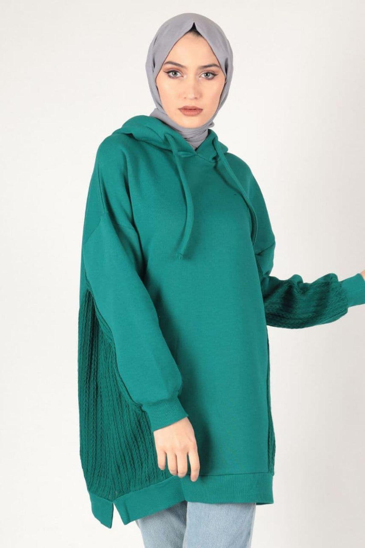 Kadın Triko Detaylı Kapişonlu Tunik - Petrol Yeşili