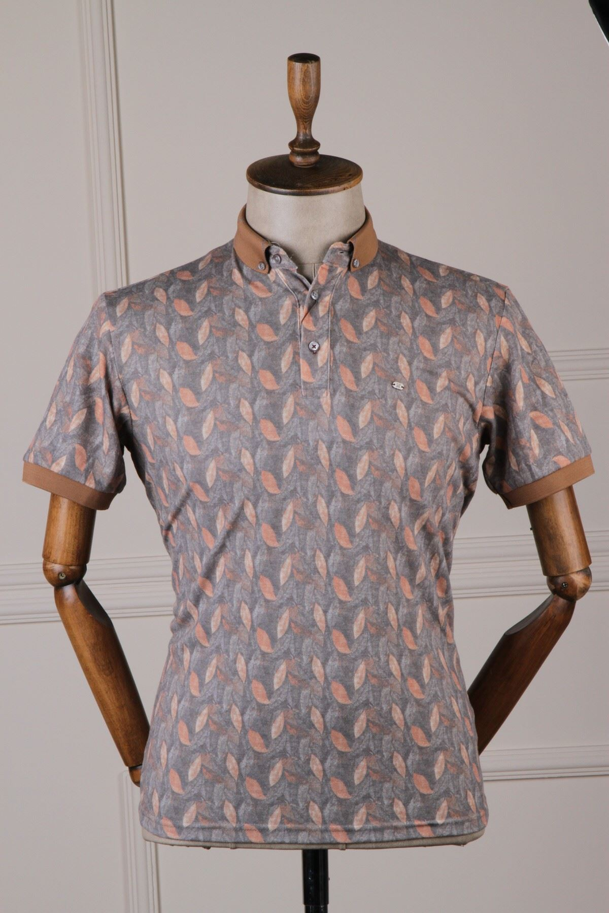 Erkek Yaprak Desenli T-shirt - Camel