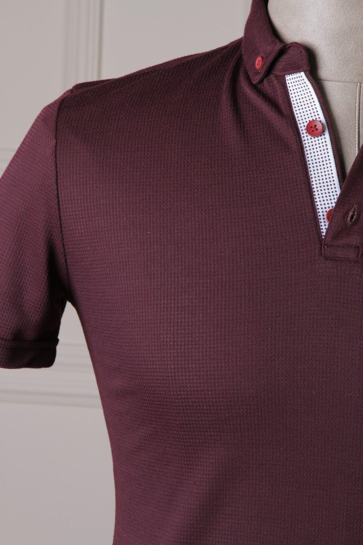 Erkek Polo Yaka T-Shirt - Mürdüm