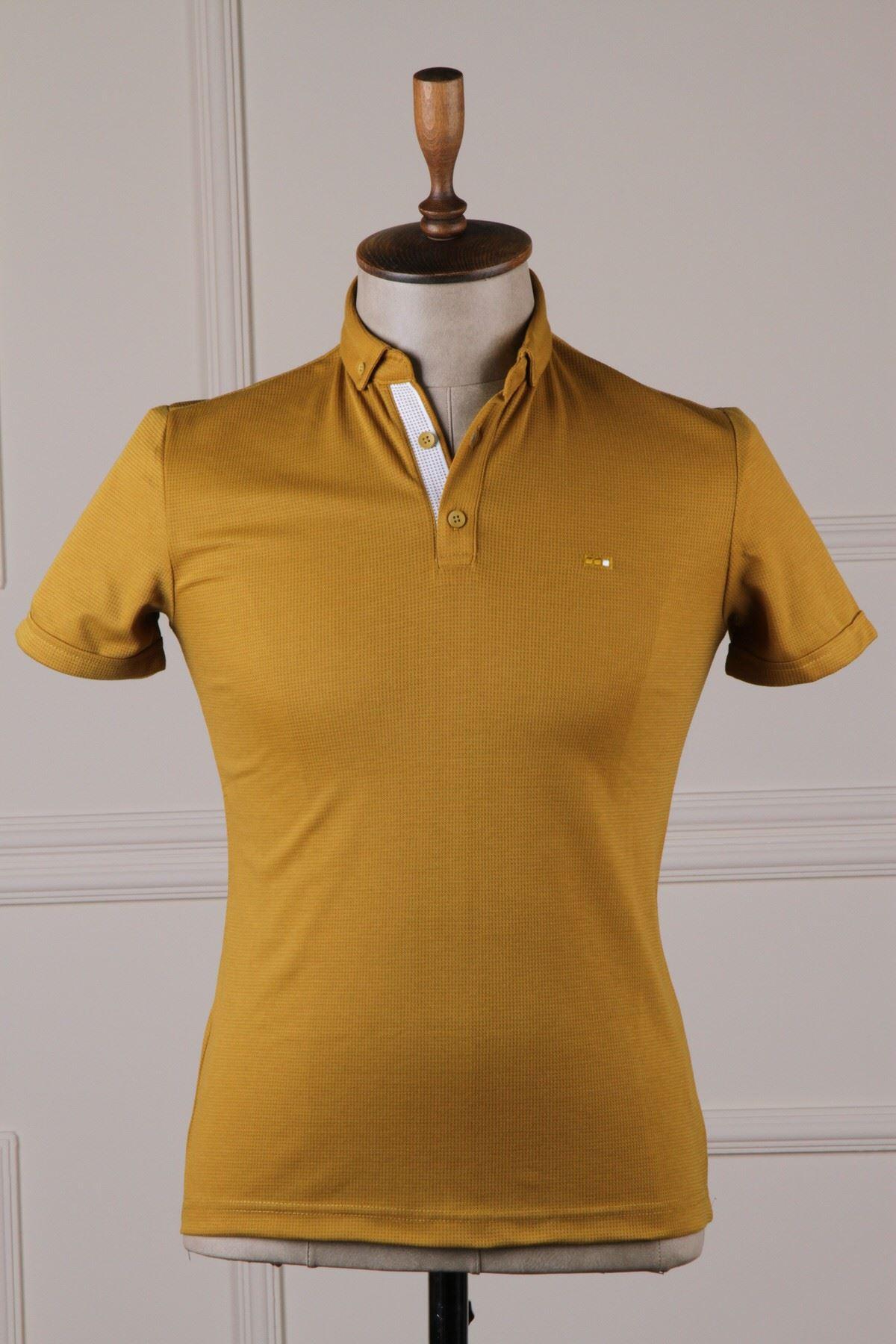 Erkek Polo Yaka T-Shirt - Hardal