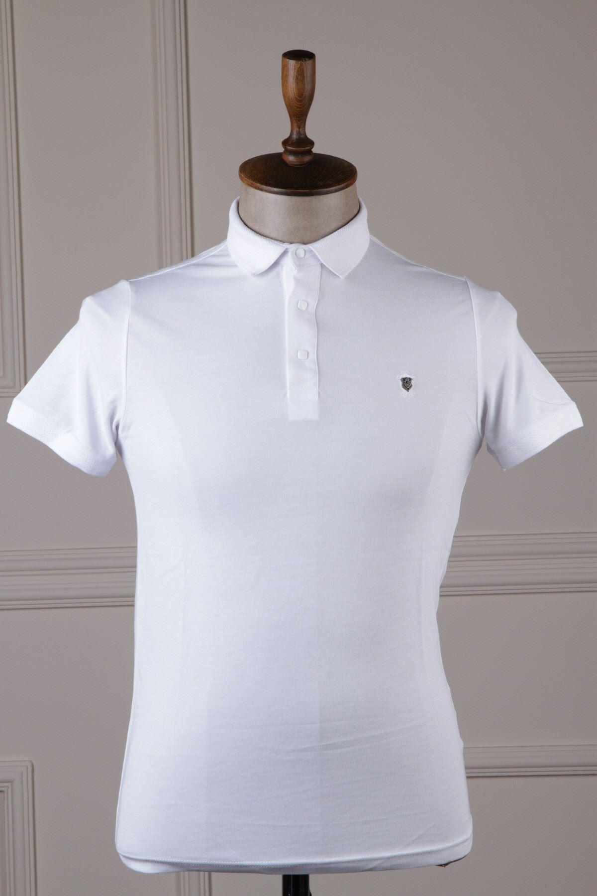 Erkek Polo Yaka T-Shirt - Beyaz