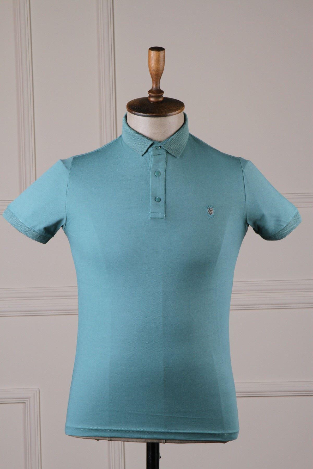 Erkek Polo Yaka T-Shirt - Nefti Yeşili