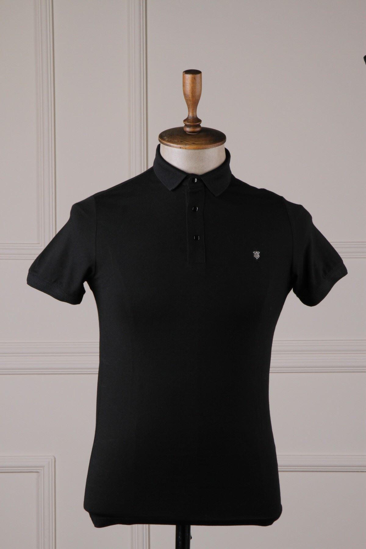 Erkek Polo Yaka T-Shirt - Siyah