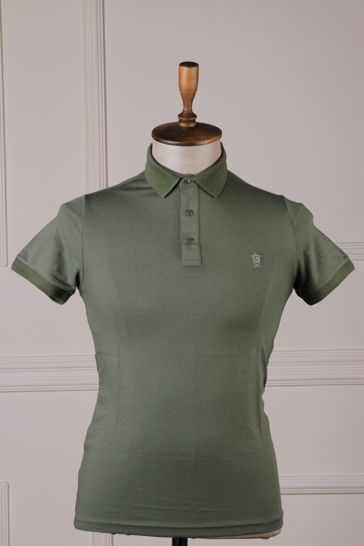 Erkek Polo Yaka T-Shirt - Haki