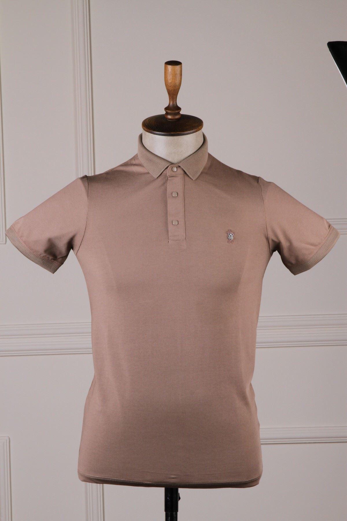 Erkek Polo Yaka T-Shirt - Vizon