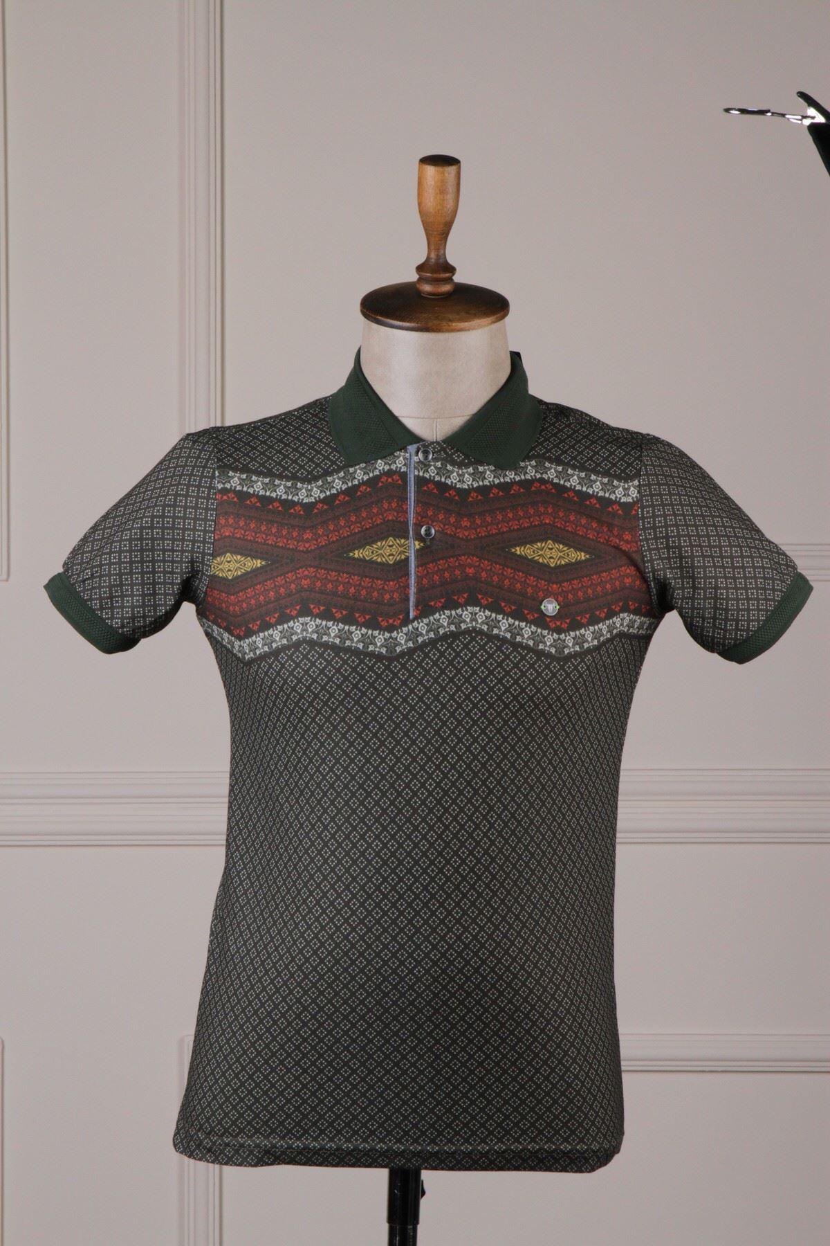 Erkek Desenli Polo Yaka T-Shirt - Haki