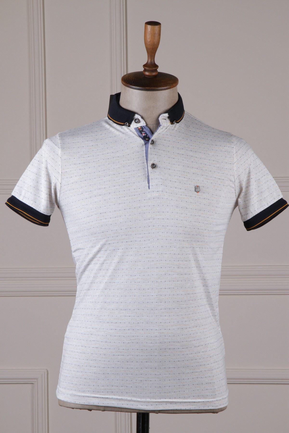 Erkek Desenli Polo Yaka T-Shirt - Beyaz