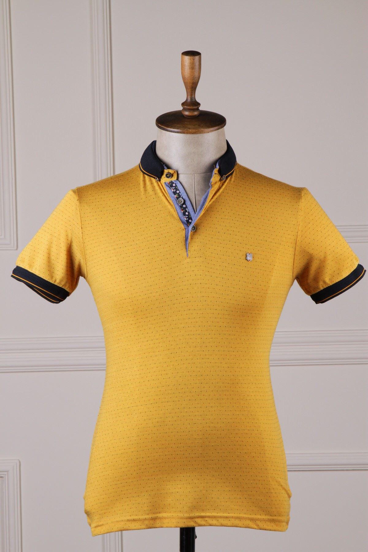 Erkek Desenli Polo Yaka T-Shirt - Hardal