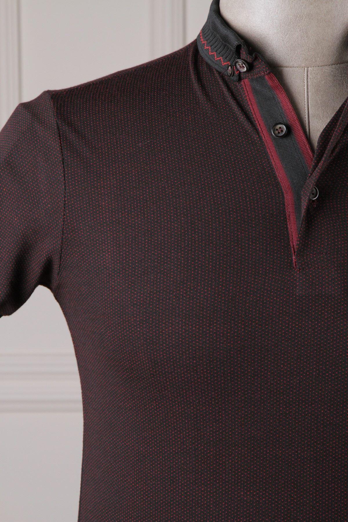 Erkek Nokta Desenli Polo Yaka T-Shirt - Bordo