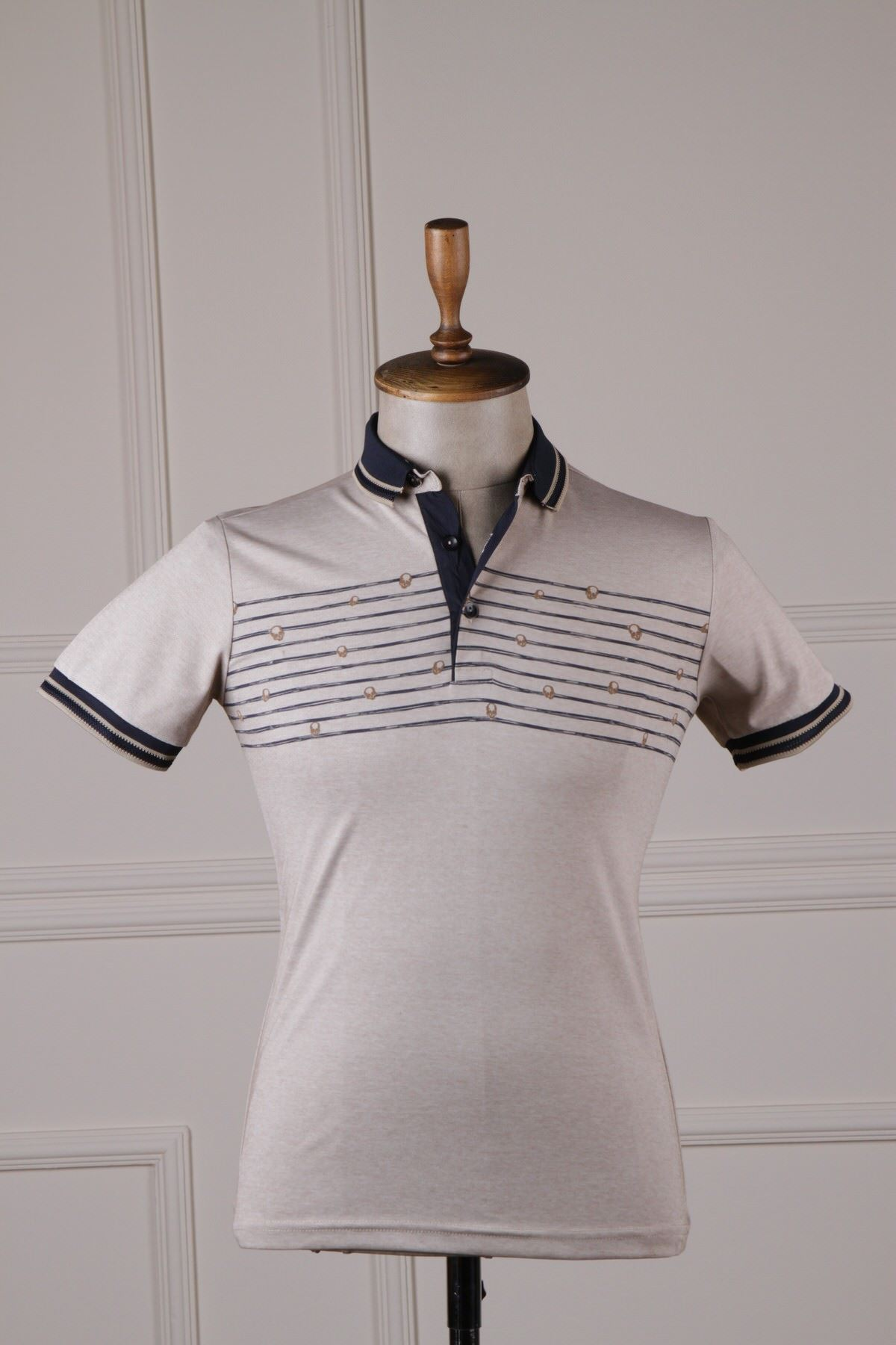 Erkek Desenli Polo Yaka T-Shirt - Bej