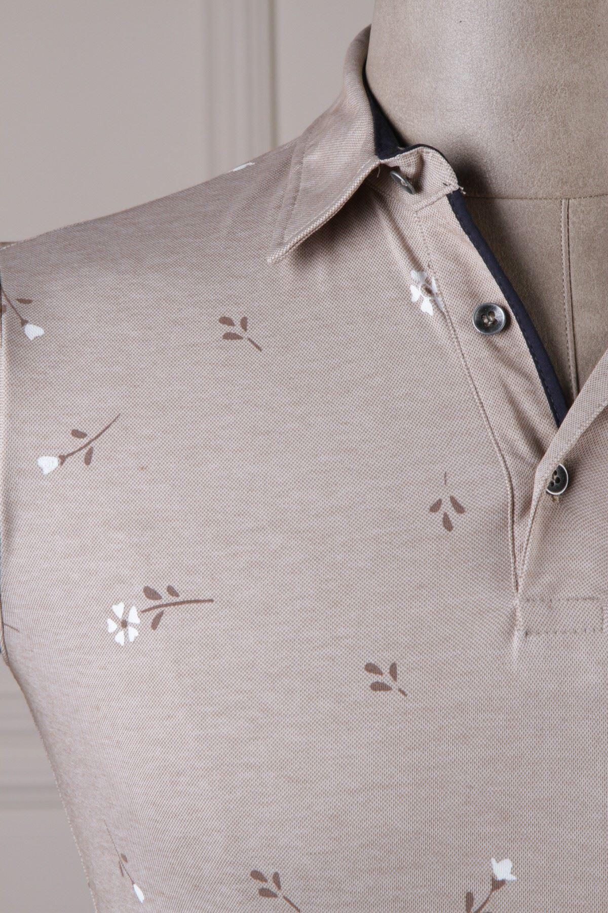 Erkek Çiçek Desenli Polo Yaka T-Shirt - Toprak
