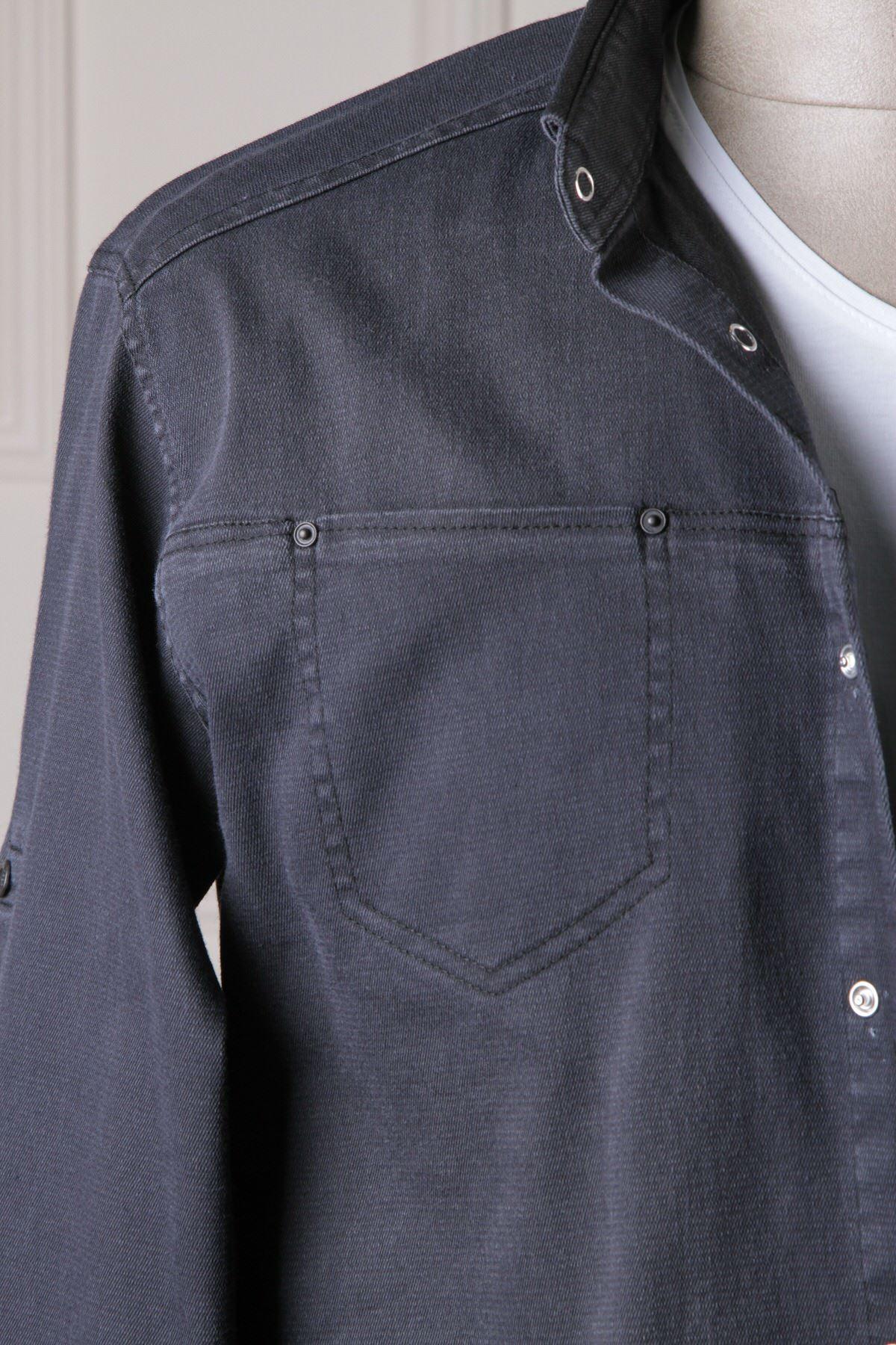 Erkek Örme Kot Gömlek - Siyah