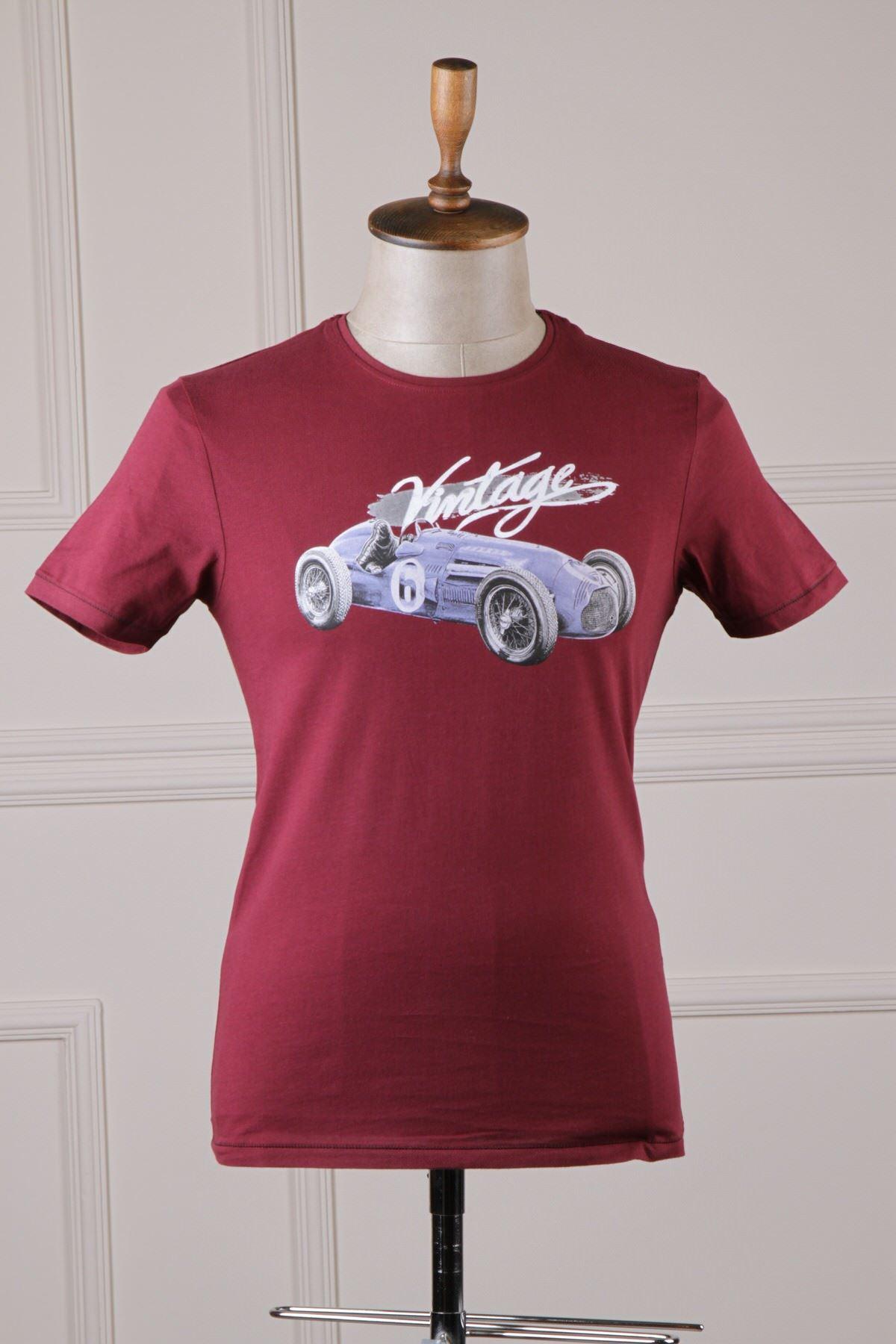 Erkek Baskılı T-Shirt - Bordo