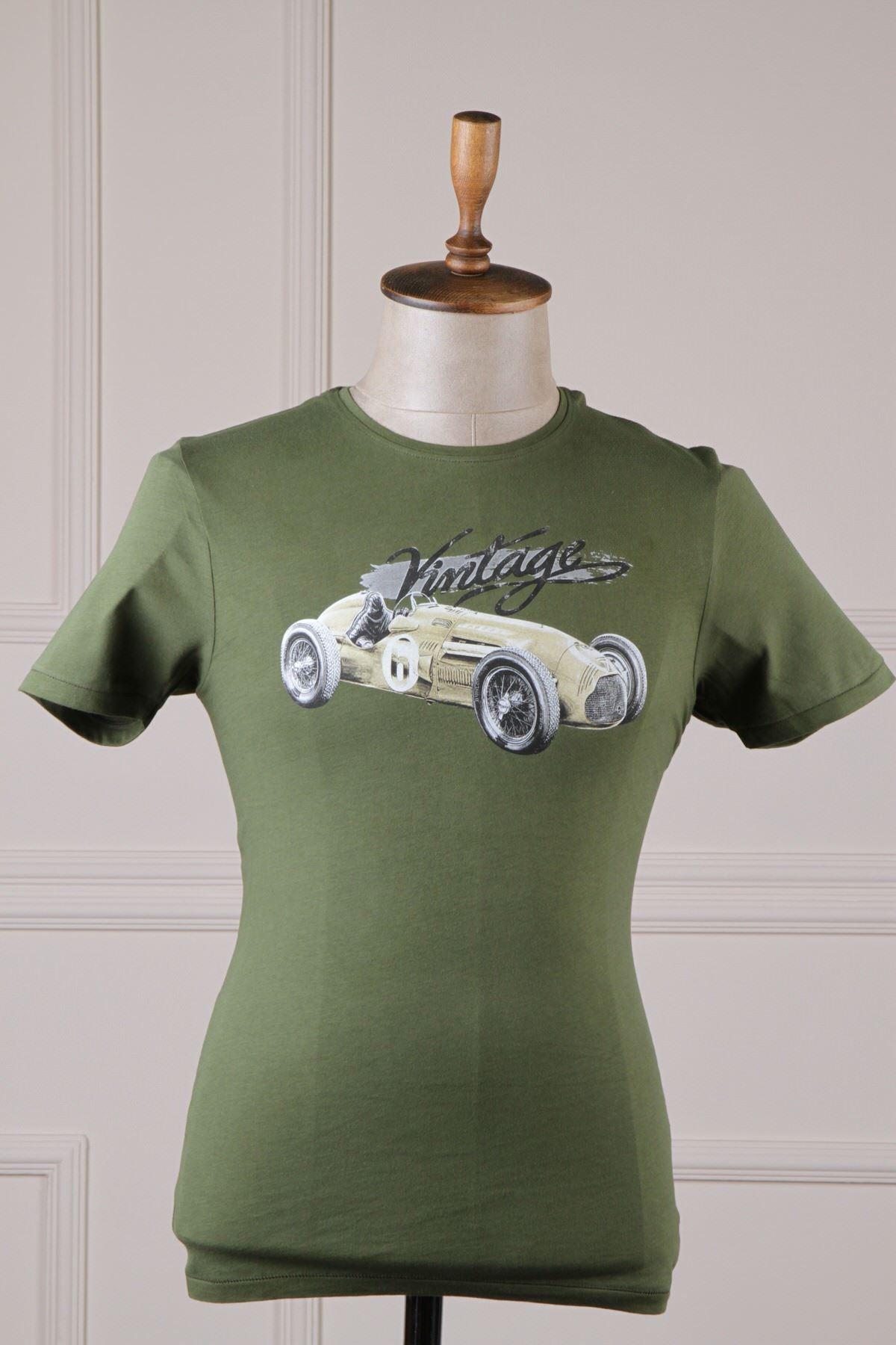 Erkek Baskılı T-Shirt - Haki