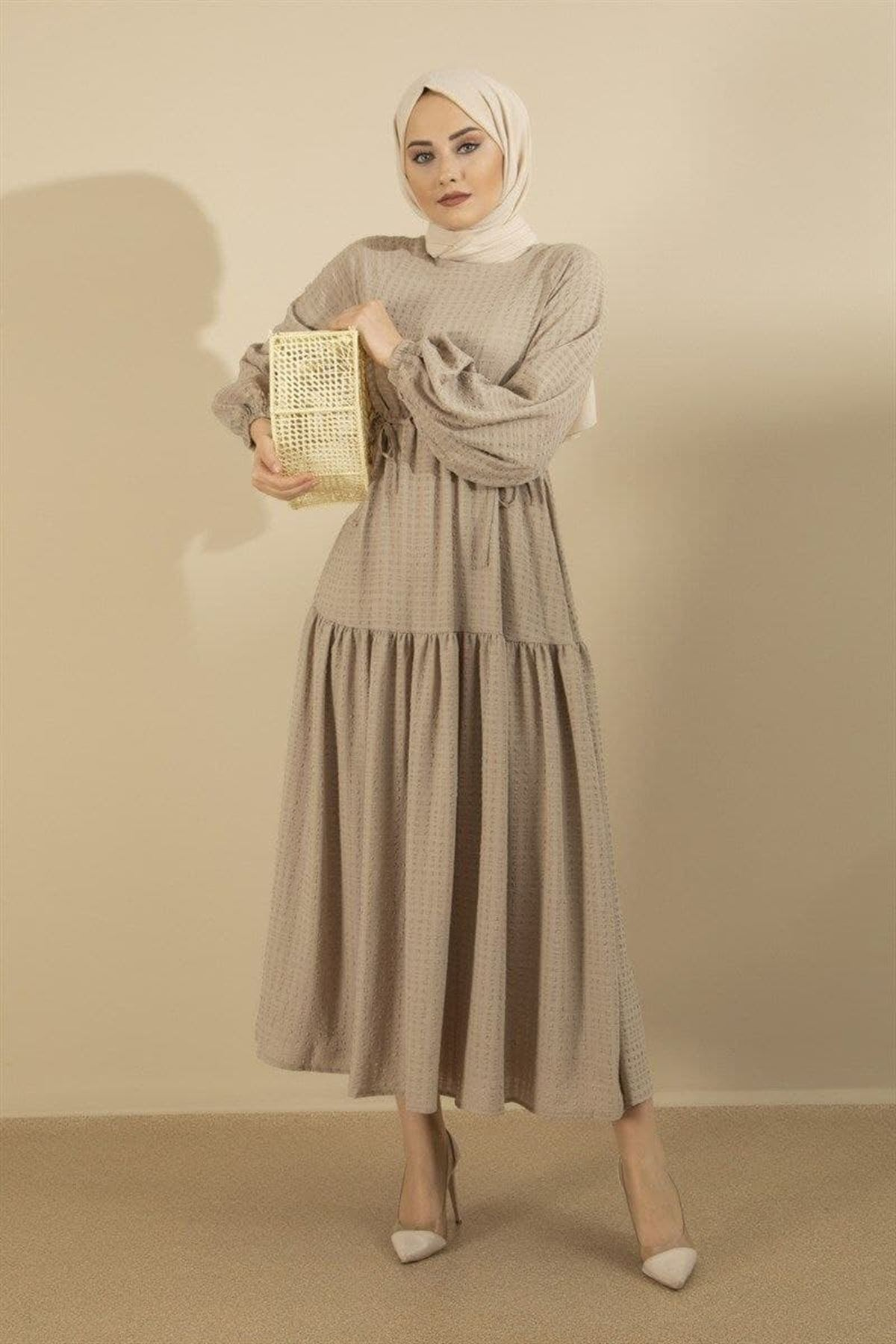 Kadın Bağcıklı Elbise - Bej