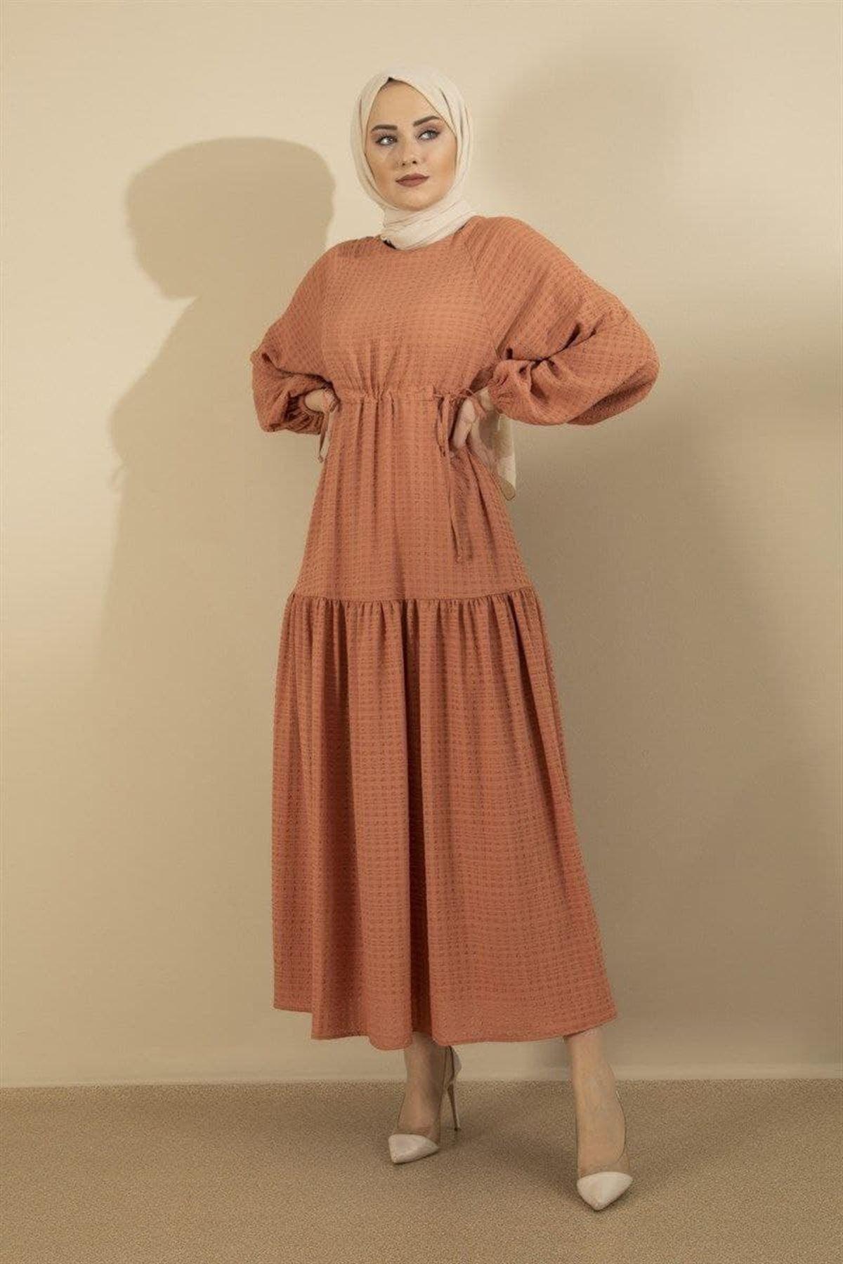 Kadın Bağcıklı Elbise - Kiremit