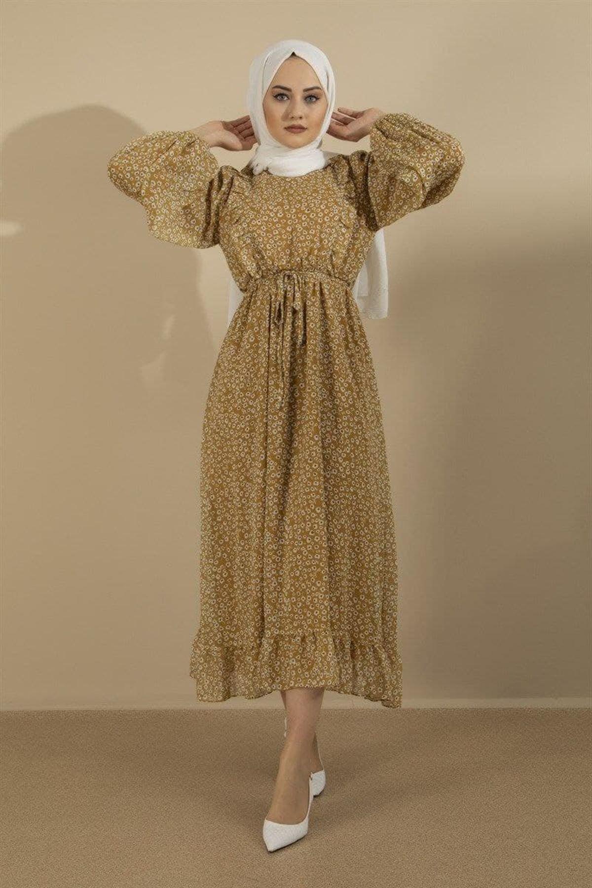 Kadın Elbise - Hardal
