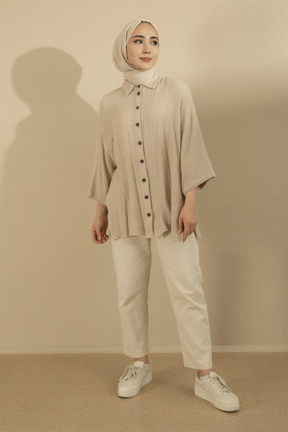 Kadın Gömlek - Bej