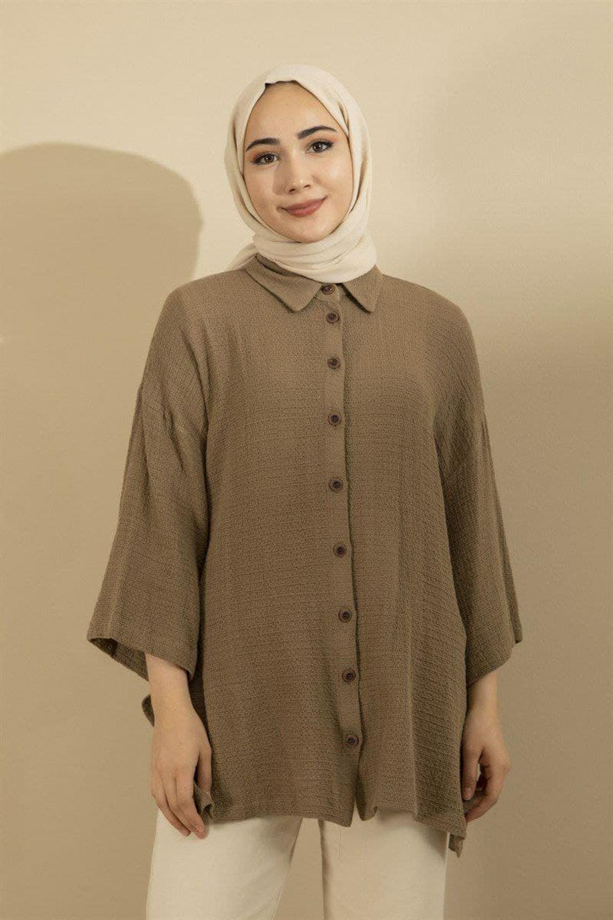 Kadın Gömlek - Vizon
