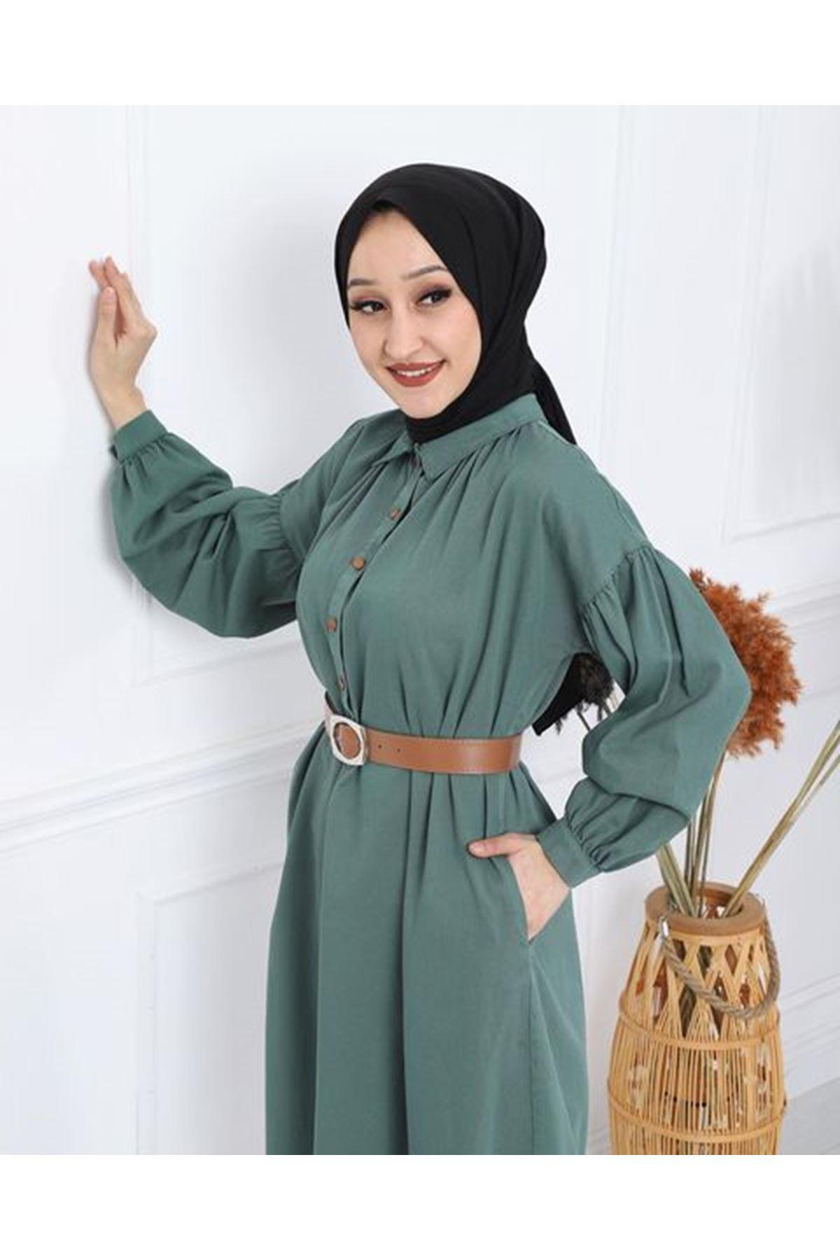 Kadın Kabardin Uzun Tunik - Açık Yeşil