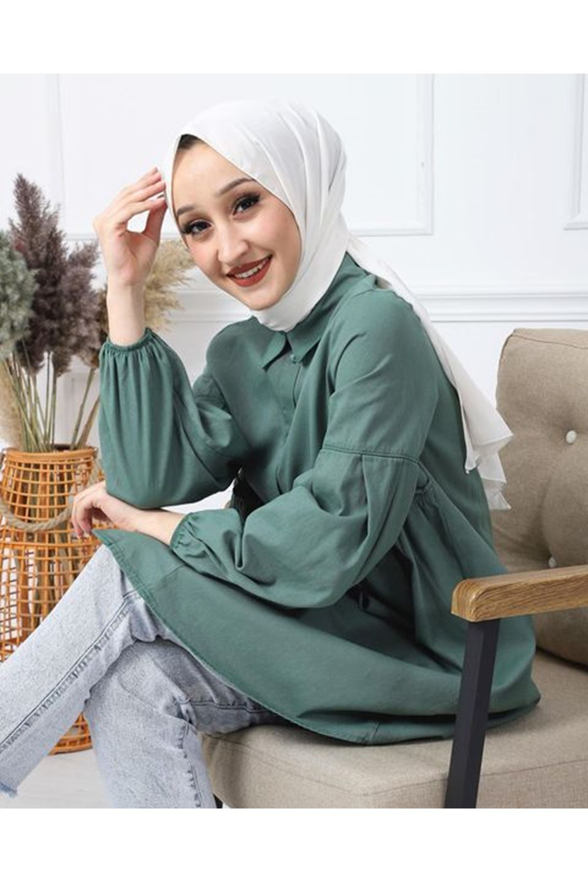 Kadın Kabardin Tunik - Açık Yeşil