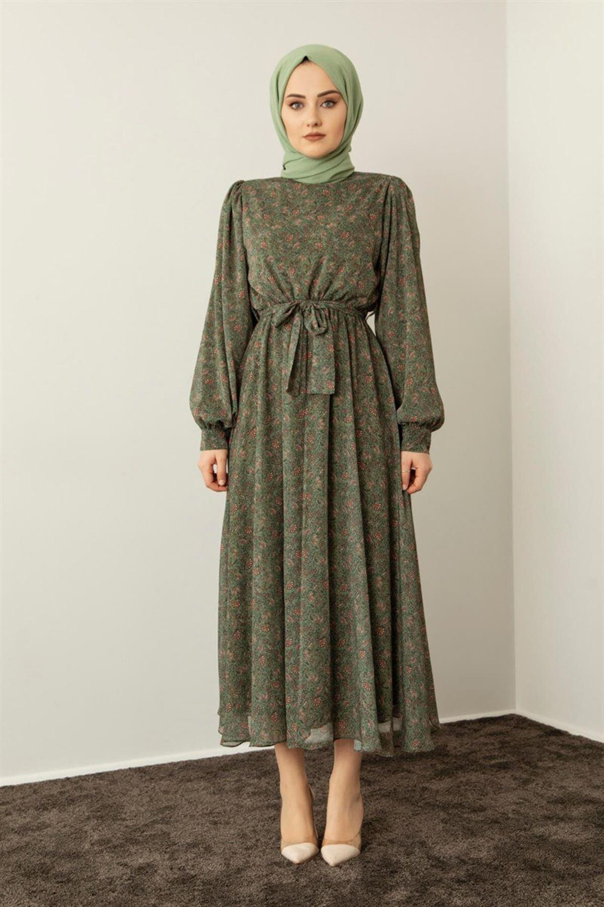 Kadın Etnik Desen Elbise - Yeşil