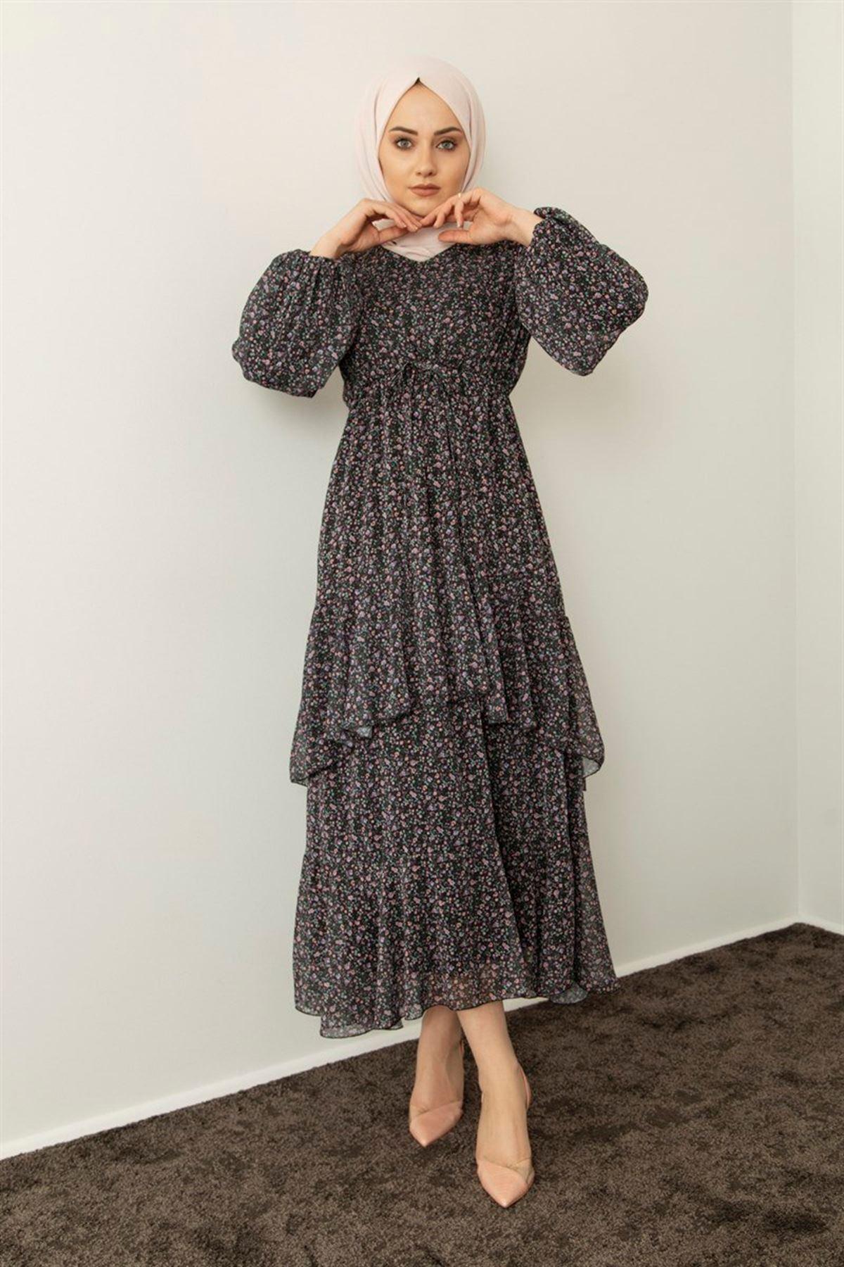 Kadın Desenli Kat Elbise - Siyah