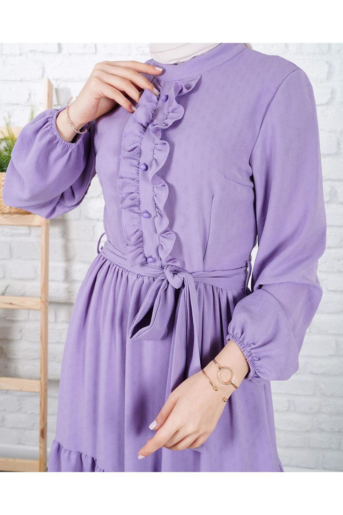 Kadın Petek Dokulu Elbise - Lila