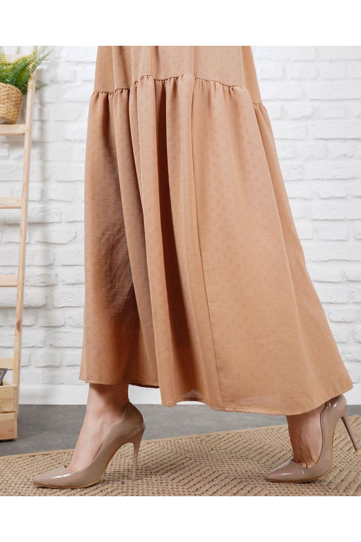 Kadın Petek Dokulu Elbise - Camel