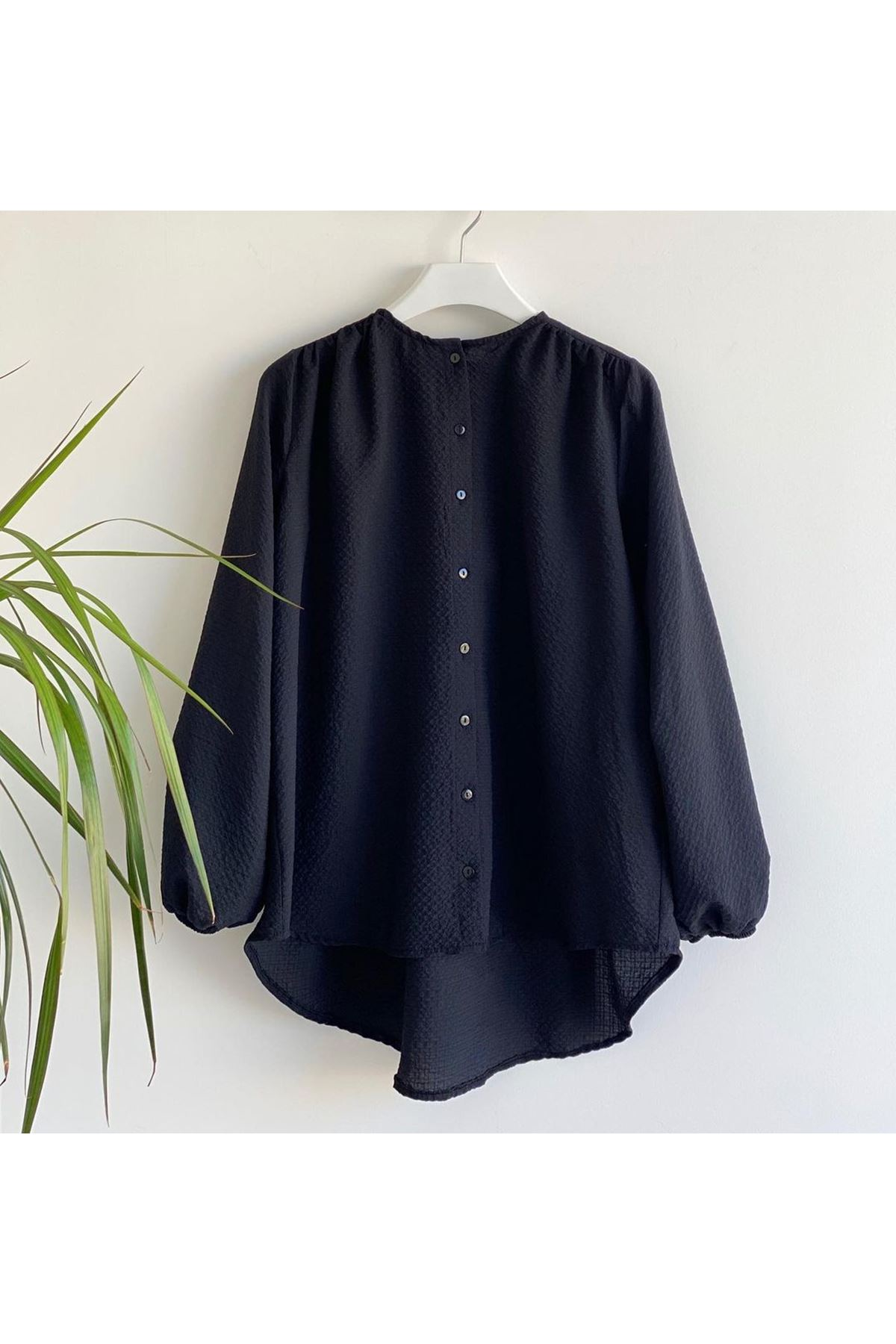 Kadın Kabartma Bluz - Siyah