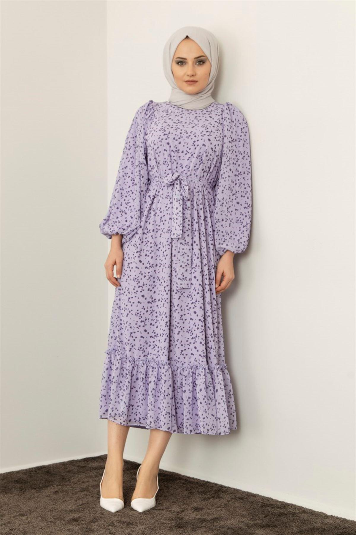 Kadın Keşkeşli Elbise - Lila