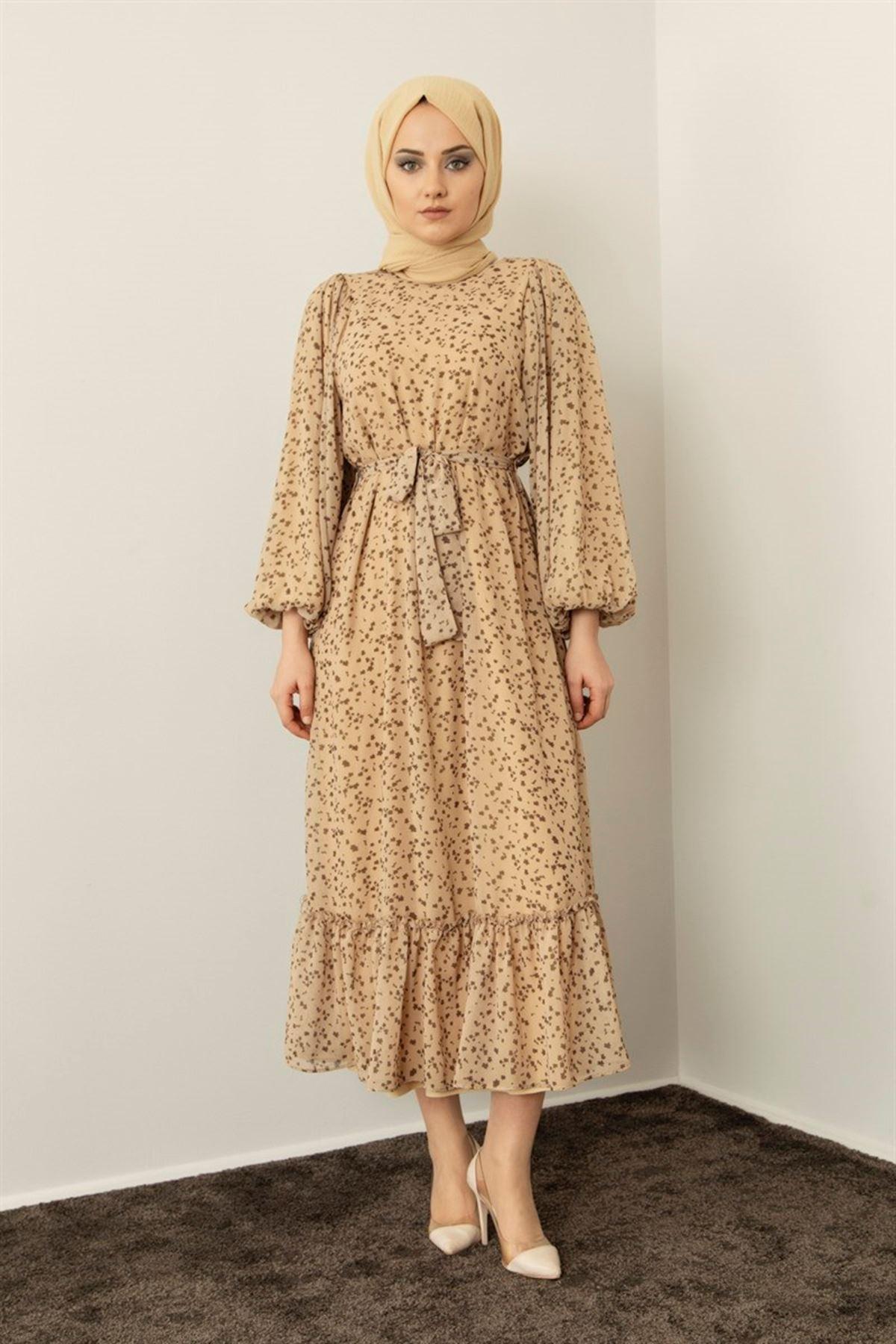 Kadın Keşkeşli Elbise - Bej