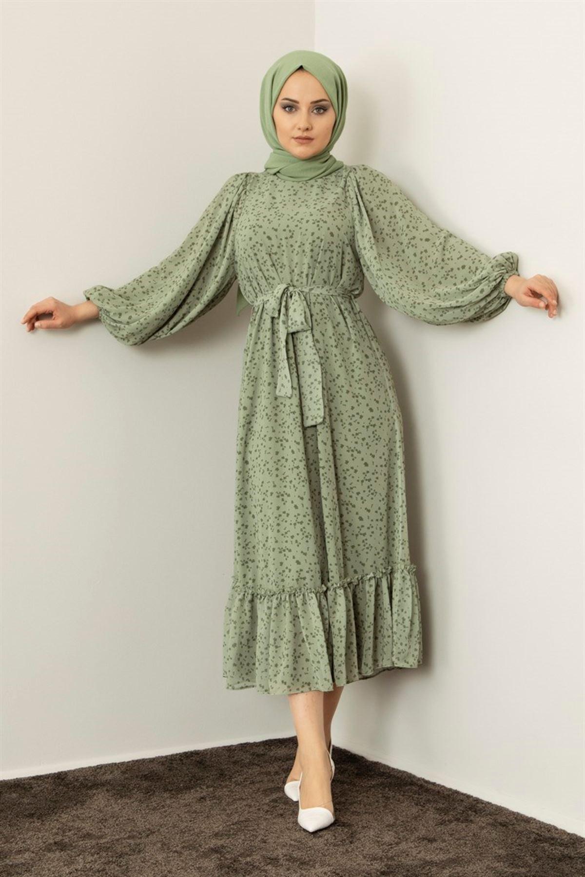 Kadın Keşkeşli Elbise - Açık Yeşil