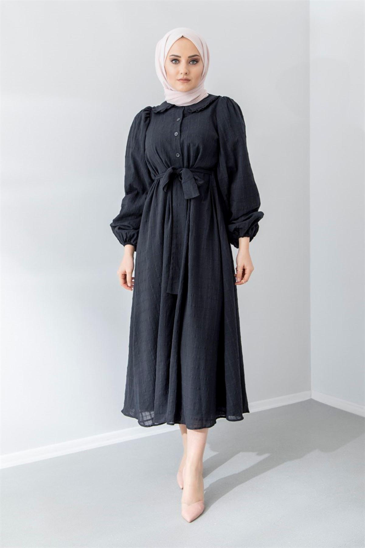 Kadın Boydan Düğmeli Elbise - Siyah