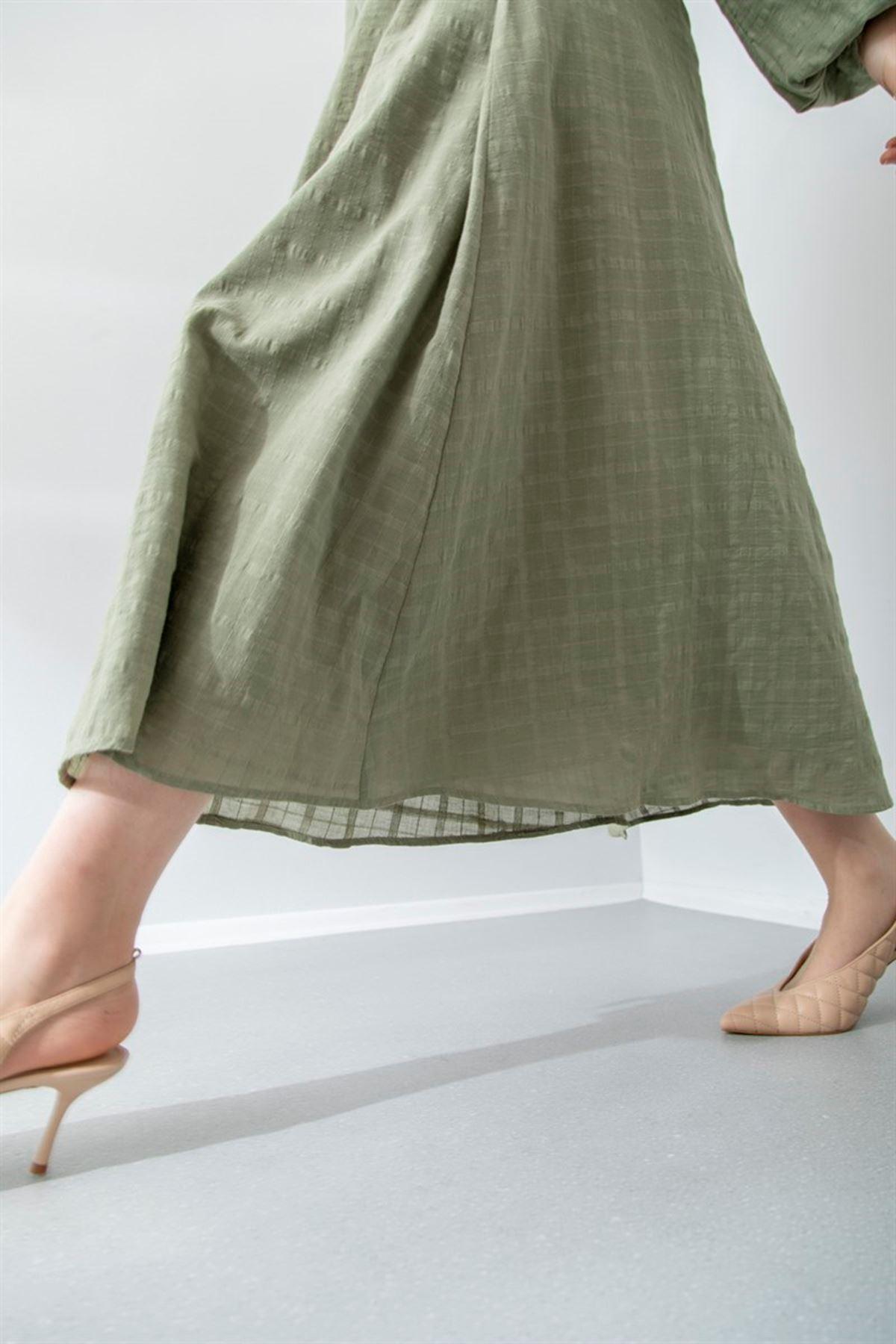 Kadın Boydan Düğmeli Elbise - Haki