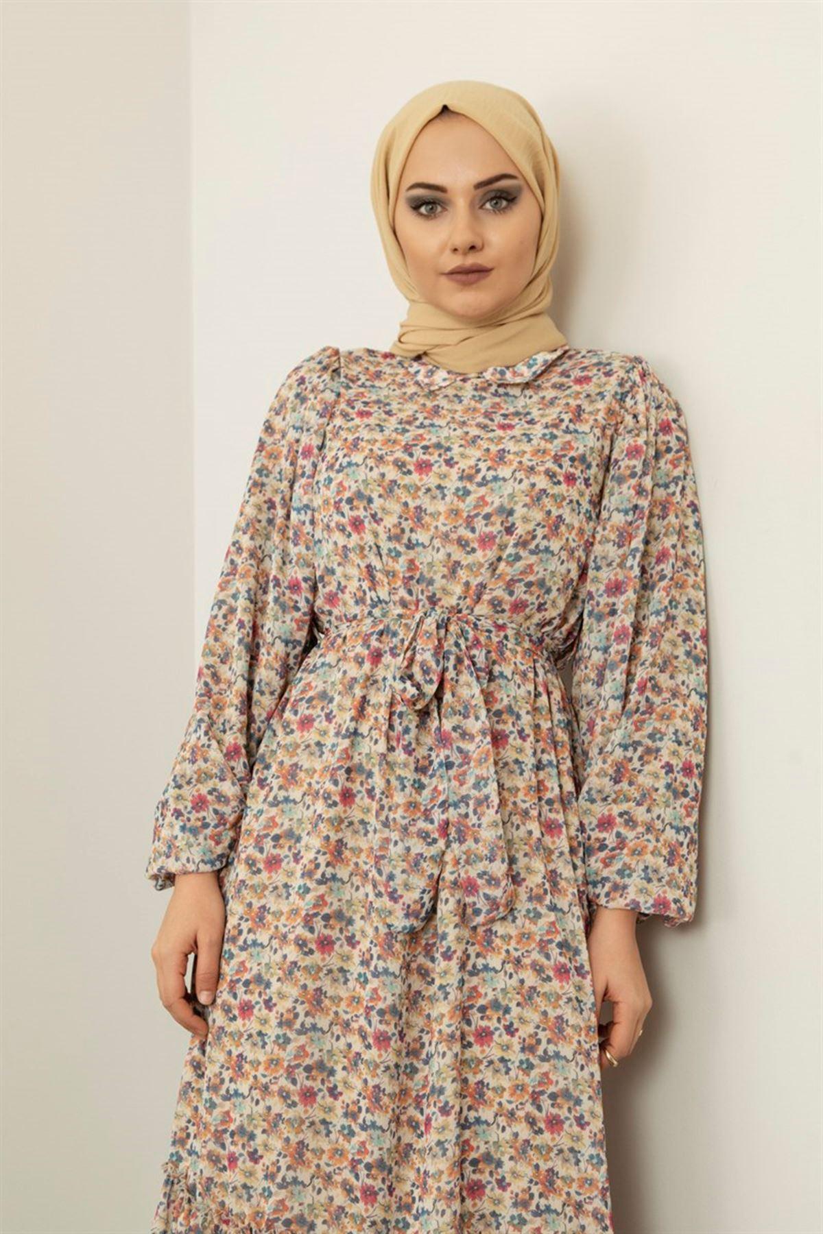 Kadın Desenli Şifon Elbise - Bej