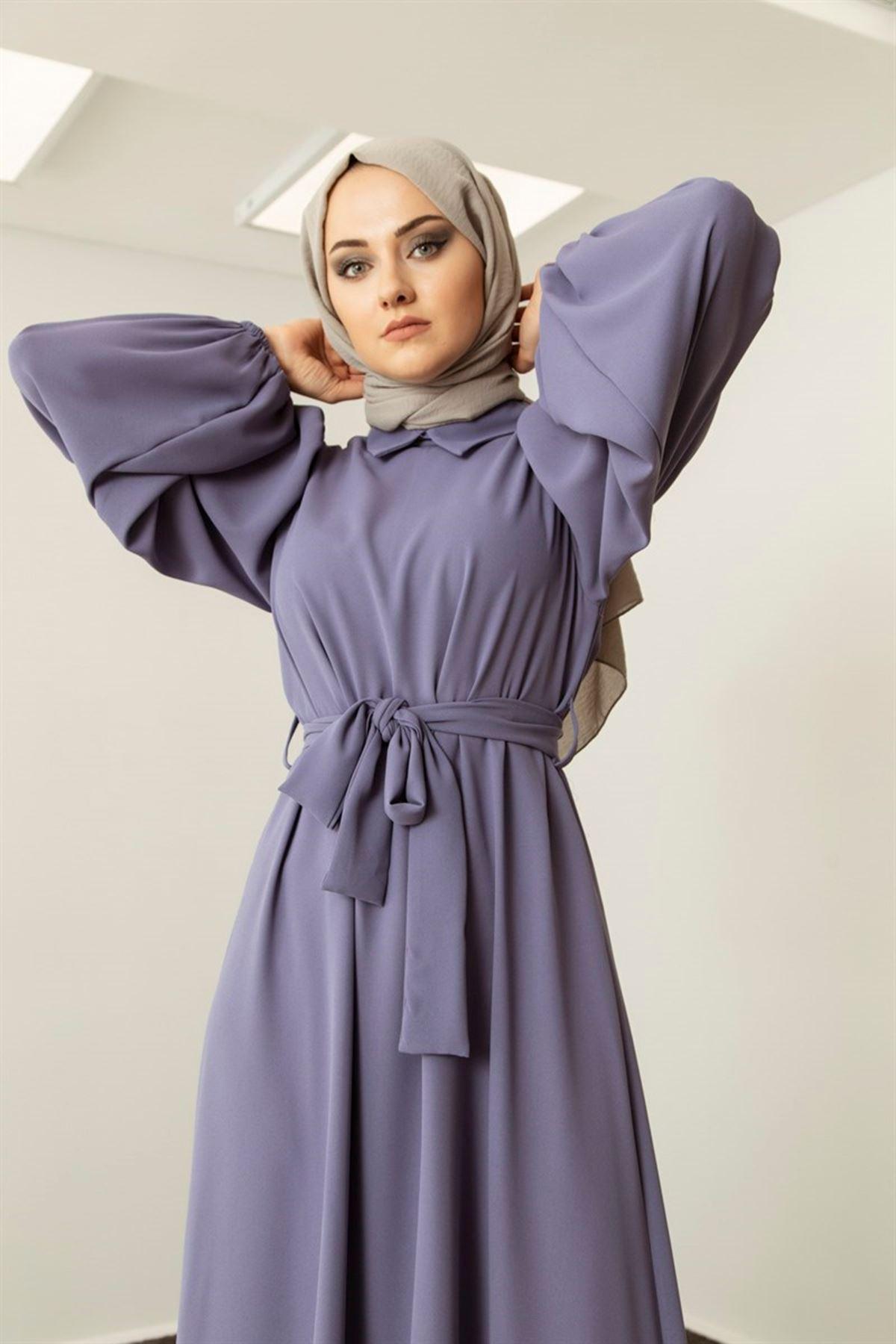 Kadın Omuz Büzgülü Yakalı Seyyar Kemerli Elbise - Morcivert