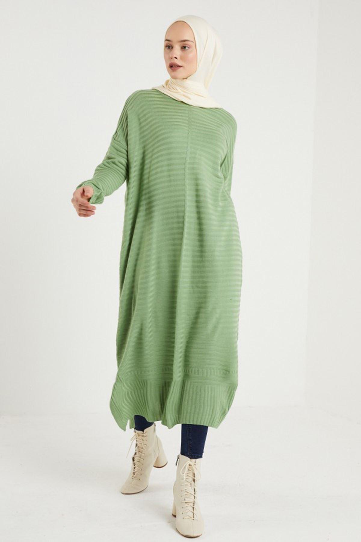 Kadın Fitilli Triko Tunik - Açık Yeşil