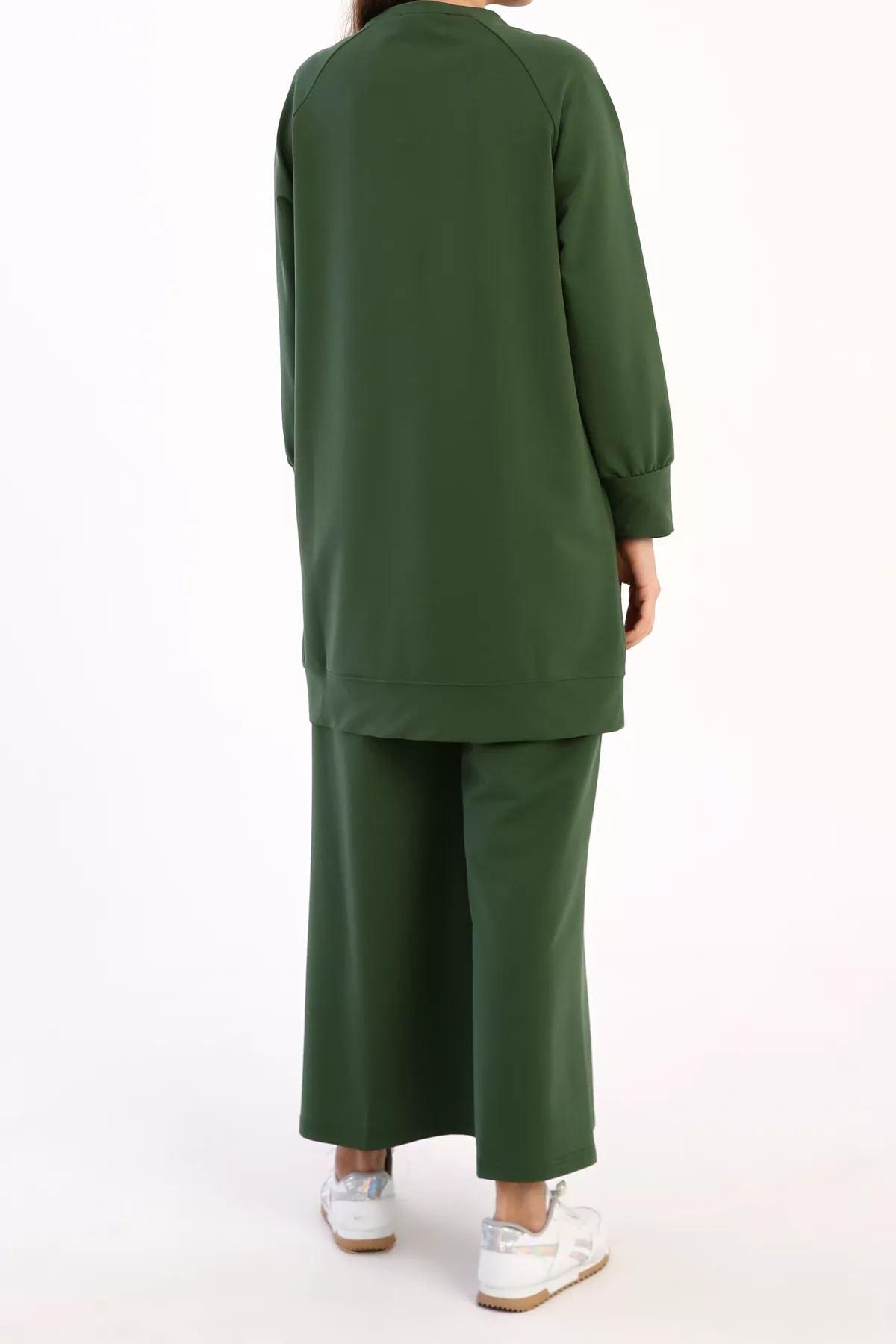 Kadın Baskılı Sweat Tunik - Yosun Yeşili