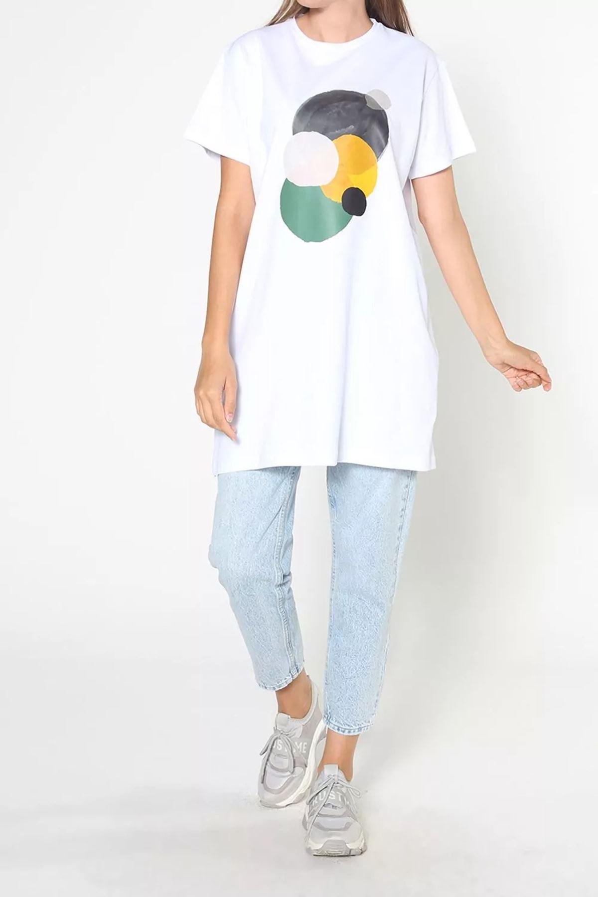 Kadın Baskılı Uzun T-Shirt - Beyaz