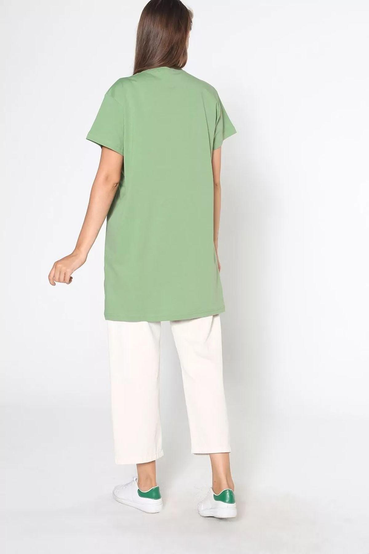 Kadın Baskılı Uzun T-Shirt - Fıstık Yeşili