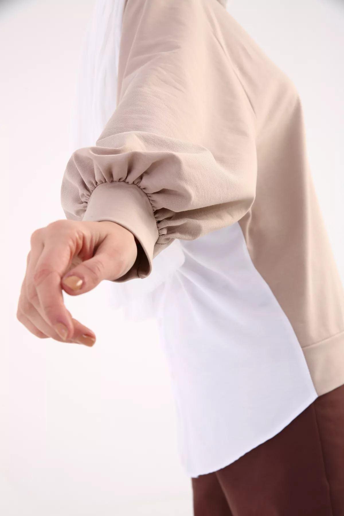 Kadın Baskılı Sweat Tunik - Bej