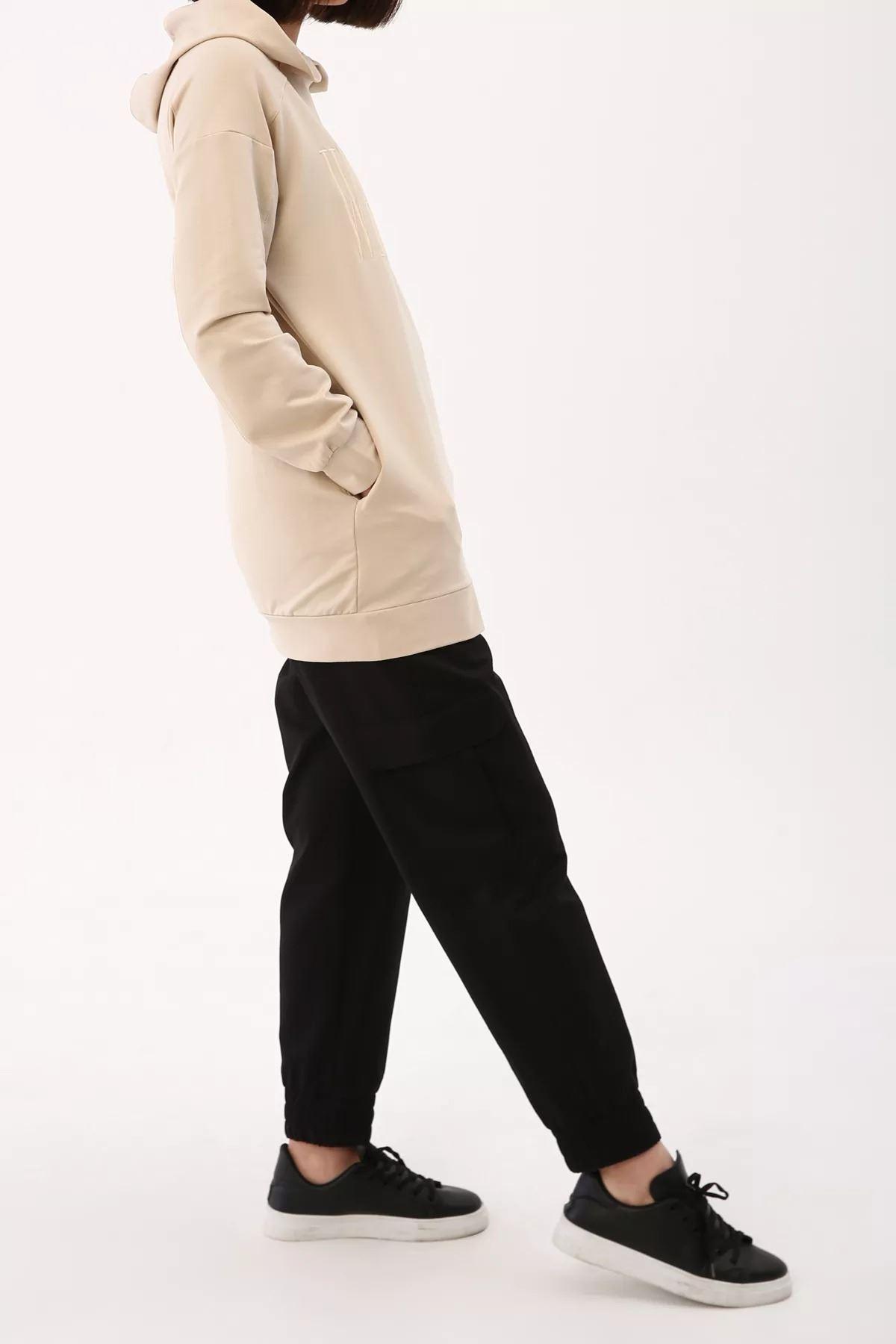 Kadın Nakışlı Sweat Tunik - Kum Beji